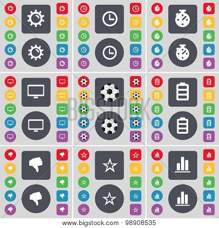 Gear, Clock, Stopwatch, Monitor, Ball, Battery, Dislike, Star, Diagram Icon Symbol. A Large Set Of F