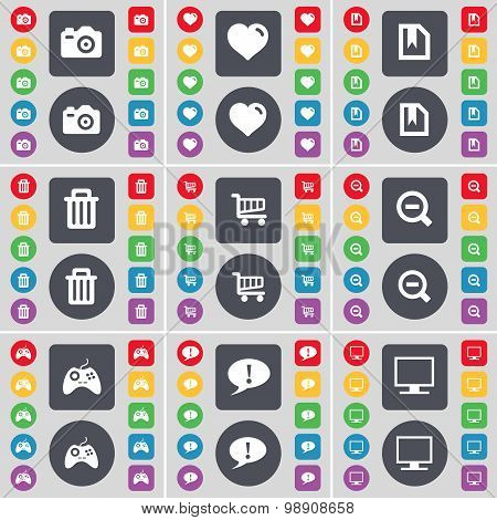 Camera, Heart, File, Trash Can, Magnifying Glass, Gamepad, Chat Bubble, Monitor Icon Symbol. A Large