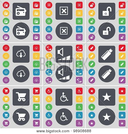Radio, Stop, Lock, Cloud, Volume, Usb, Shopping Cart, Disabled Person, Star Icon Symbol. A Large Set