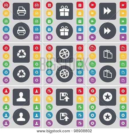 Printer, Gift, Rewind, Recycling, Ball, Survey, Avatar, Floppy, Star Icon Symbol. A Large Set Of Fla