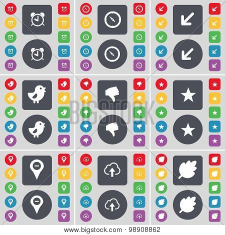 Alarm Clock, Compass, Deploying Screen, Bird, Dislike, Star, Checkpoint, Cloud, Leaf Icon Symbol. A