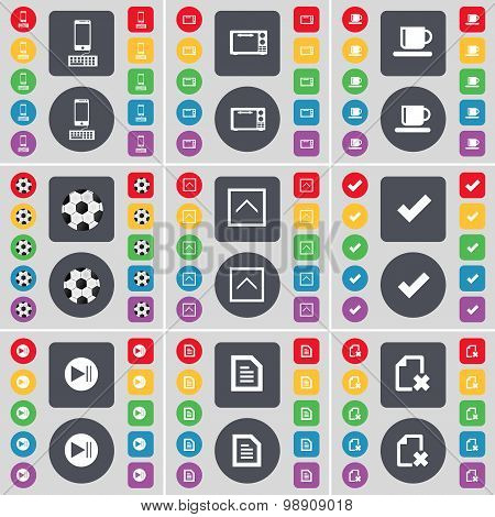 Smartphone, Microscope, Cup, Ball, Arrow Up, Tick, Media Skip, Text File Icon Symbol. A Large Set Of