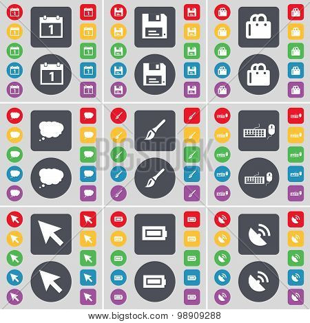Calendar, Floppy, Shopping Bag, Chat Cloud, Brush, Keyboard, Cursor, Battery, Satellite Dish Icon Sy