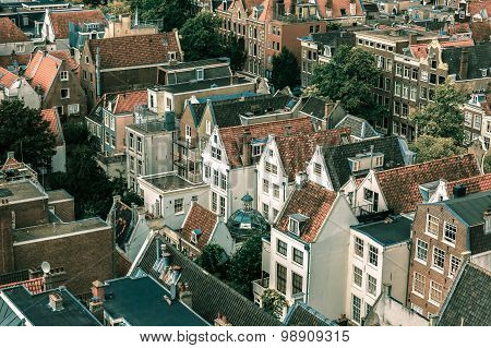 Amsterdam city view from Westerkerk, Holland