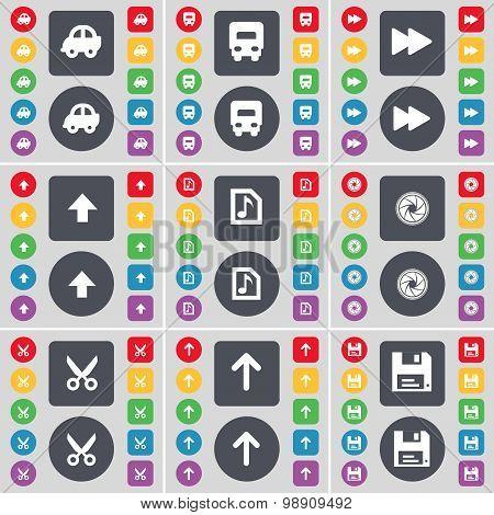 Car, Truck, Rewind, Arrow Up, Music File, Lens, Scissors, Arrow Up, Floppy Icon Symbol. A Large Set