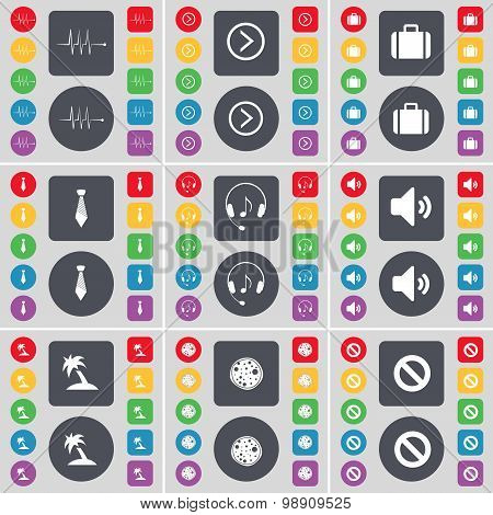 Pulse, Arrow Right, Suitcase, Tie, Headphones, Sound, Palm, Pizza, Stop Icon Symbol. A Large Set Of