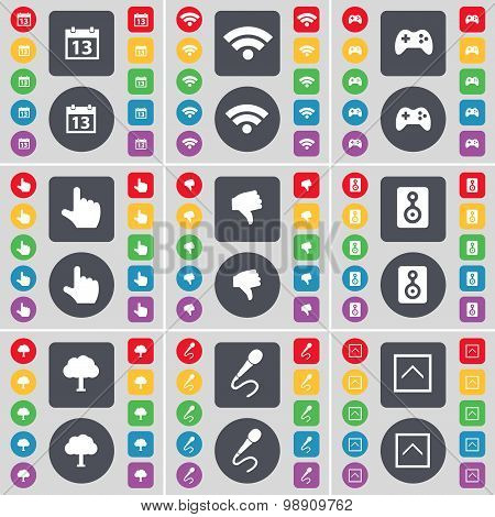Calendar, Wi-fi, Gamepad, Hand, Dislike, Speaker, Tree, Microphone, Arrow Up Icon Symbol. A Large Se