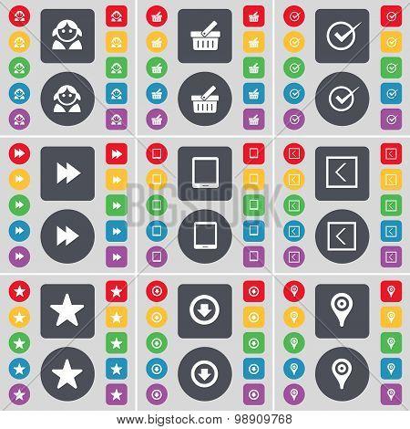 Avatar, Basket, Tick, Rewind, Tablet Pc, Arrow Left, Star, Arrow Down, Checkpoint Icon Symbol. A Lar