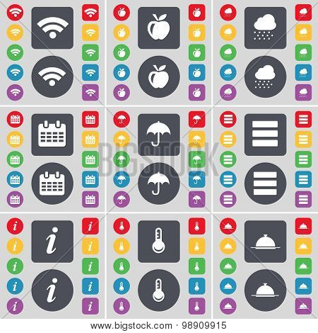 Wi-fi, Apple, Cloud, Calendar, Umbrella, Apps, Information, Thermometer, Tray Icon Symbol. A Large S