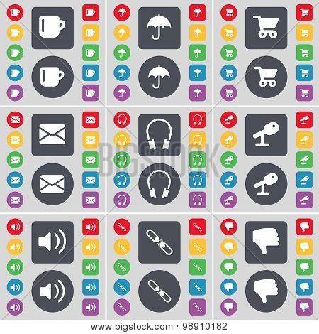 Cup, Umbrella, Shopping Card, Message, Headphones, Microphone, Sound, Link, Dislike Icon Symbol. A L
