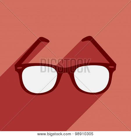 Flat with shadow icon and mobile application sunglasses