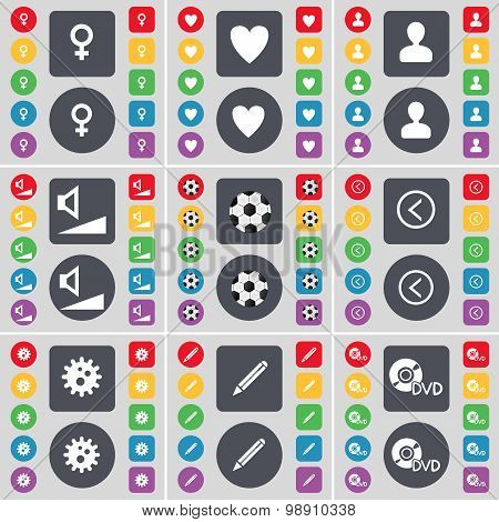 Venus Symbol, Heart, Avatar, Volume, Ball, Arrow Left, Gear, Pencil, Dvd Icon Symbol. A Large Set Of