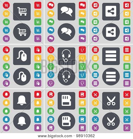 Shopping Cart, Chat, Share, Mouse, Headphones, Apps, Notification, Sim Card, Scissors Icon Symbol. A