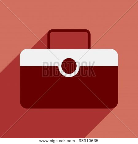 Flat with shadow icon and mobile application valise