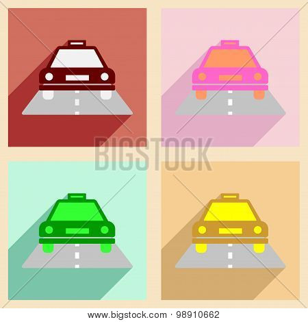 Flat with shadow concept and mobile application taxi