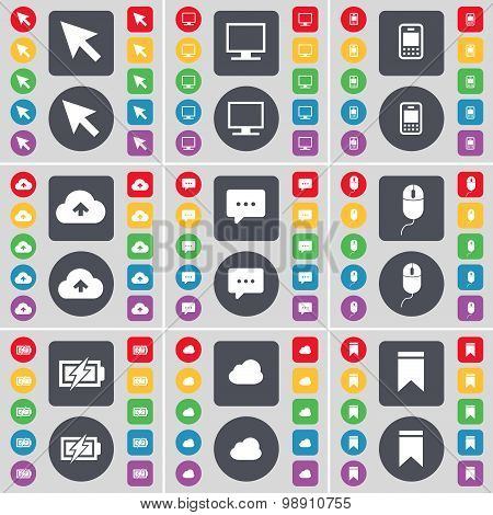 Cursor, Monitor, Mobile Phone, Cloud, Chat Bubble, Mouse, Charging, Marker Icon Symbol. A Large Set
