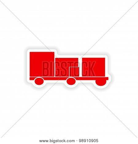 icon sticker realistic design on paper trailer freight logistics