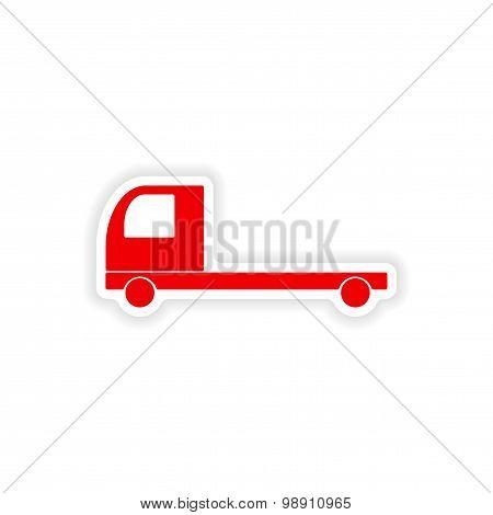 icon sticker realistic design on paper truck transport