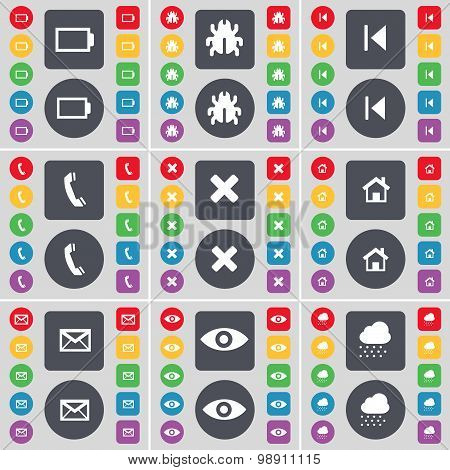 Battery, Bug, Media Skip, Receiver, Stop, House, Message, Vision, Cloud Icon Symbol. A Large Set Of