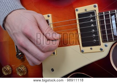 Detailed View Of The Game On An Electric Guitar