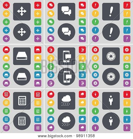 Moving, Chat, Exclamation Mark, Hard Drive, Sms, Lens, Calendar, Cloud, Silhouette Icon Symbol. A La