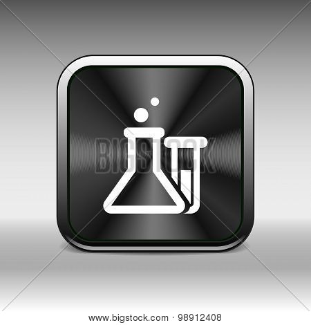 Chemical flask icon laboratory glass beaker lab vector