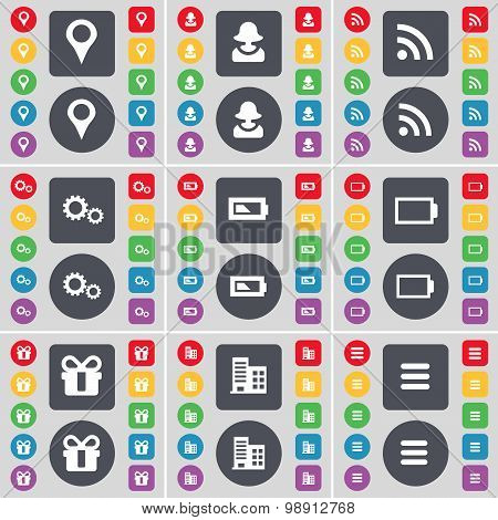Checkpoint, Avatar, Rss, Gear, Battery, Gift, Building, Apps Icon Symbol. A Large Set Of Flat, Color