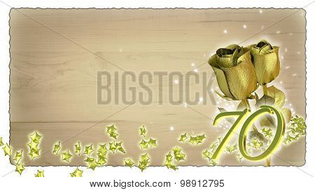 birthday concept with golden roses and star particles - 70th