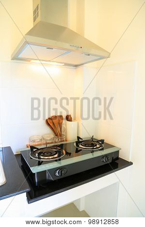 Close up of the gas stove in kitchen room. Modern kitchen interior, Building interior.