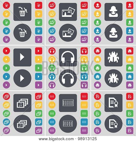 Trash Can, Picture, Avatar, Media Play, Headphones, Bug, Gallery, Equalizer, Text File Icon Symbol.
