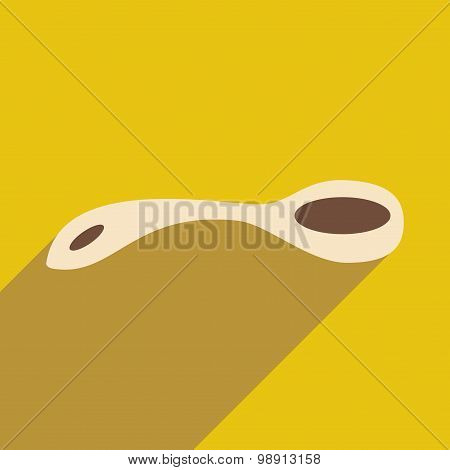Flat with shadow icon and mobile application tea spoon