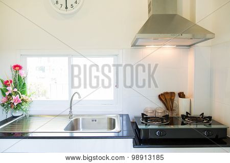 Close up of the gas stove in kitchen room. Modern kitchen interior