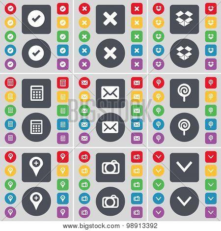 Tick, Stop, Dropbox, Calculator, Message, Lollipop, Checkpoint, Camera, Arrow Down Icon Symbol. A La