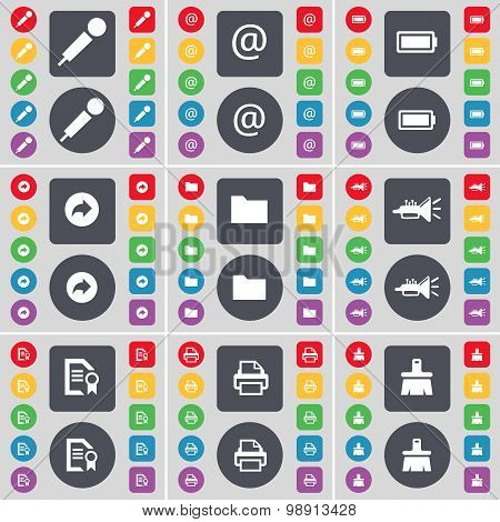 Microphone, Mail, Battery, Back, Folder, Trumped, Text File, Printer, Brush Icon Symbol. A Large Set