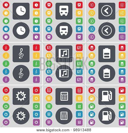 Clock, Truck, Arrow Left, Clef, Music Window, Battery, Gear, Calculator, Gas Station Icon Symbol. A