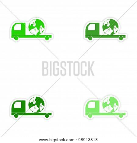 assembly realistic sticker design on paper International truck transportation