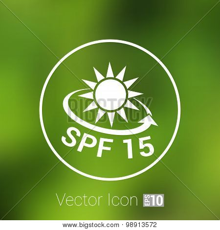 spf fifteen shield sticker badge label banner sign isolated.