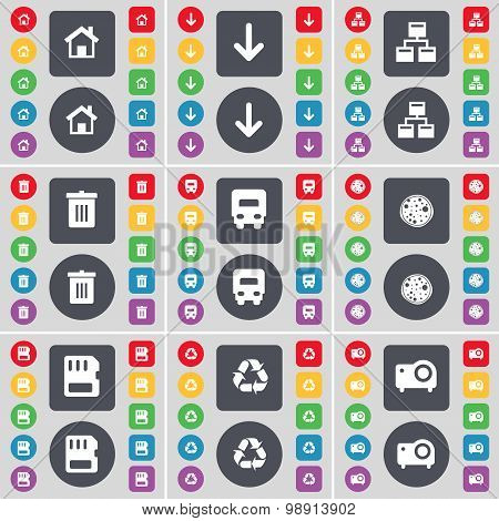House, Arrow Down, Network, Trash Can, Truck, Pizza, Sim Card, Recycling, Projector Icon Symbol. A L