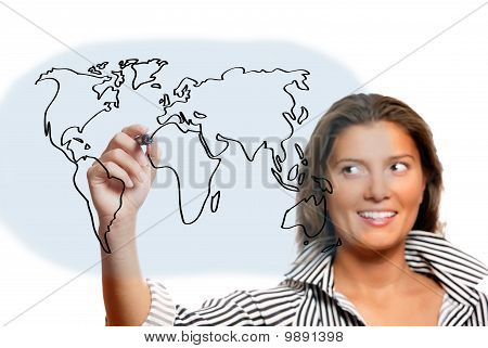 Beautiful Woman Drawing World Map