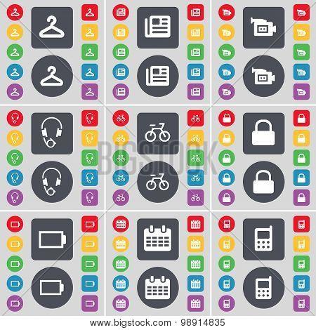 Hanger, Network, Film Camera, Headphones, Bicycle, Lock, Battery, Calendar, Mobile Phone Icon Symbol