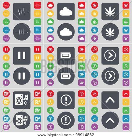 Pulse, Cloud, Marijuana, Pause, Battery, Arrow Right, Speaker, Warning, Arrow Up Icon Symbol. A Larg