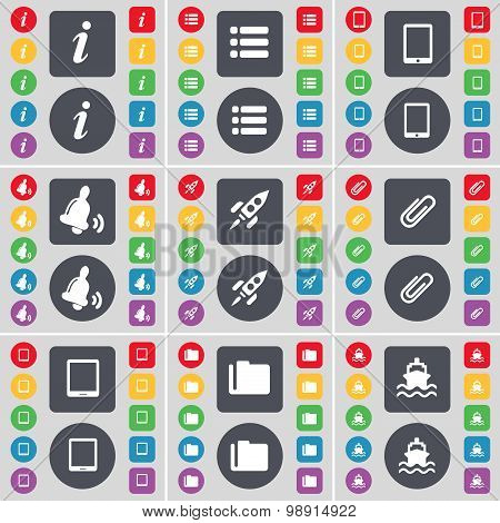 Information, List, Tablet Pc, Bell, Rocket, Clip, Tablet Pc, Folder, Ship Icon Symbol. A Large Set O