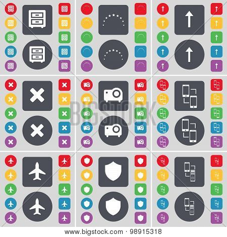 Bed-table, Stars, Arrow Up, Stop, Projector, Connection, Airplane, Badge Icon Symbol. A Large Set Of