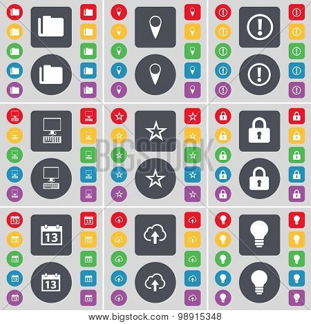 Folder, Checkpoint, Warning, Pc, Star, Lock, Calendar, Cloud, Light Bulb Icon Symbol. A Large Set Of