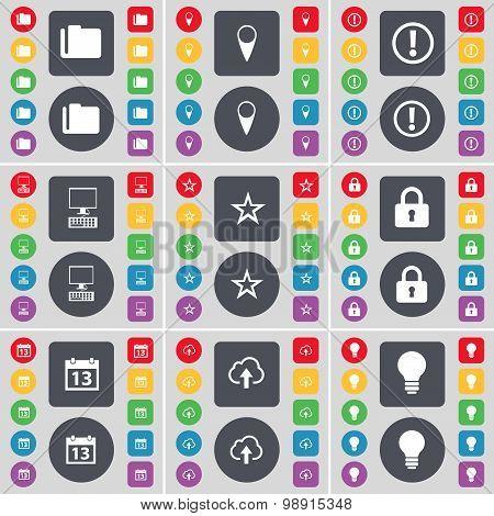 Folder, Checkpoint, Warning, Pc, Star, Lock, Calendar, Cloud, Light Bulb Icon Symbol. A Large Set Of