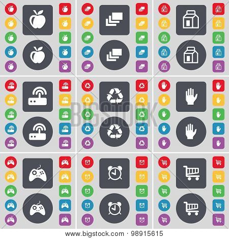 Apple, Gallery, Packing, Router, Recycling, Hand, Gamepad, Alarm Clock, Shopping Cart Icon Symbol. A