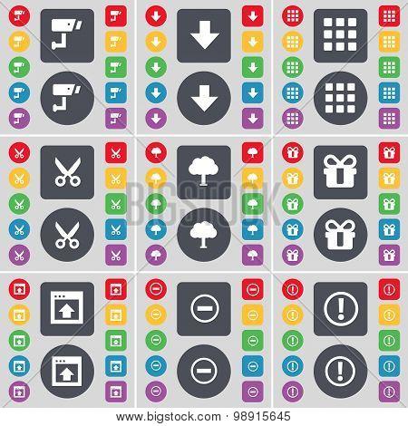 Cctv, Arrow Down, Apps, Scissors, Tree, Gift, Window, Minus, Warning Icon Symbol. A Large Set Of Fla