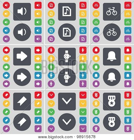 Sound, Music File, Bicycle, Arrow Right, Wrist Watch, Notification, Marker, Arrow Down, Medal Icon S