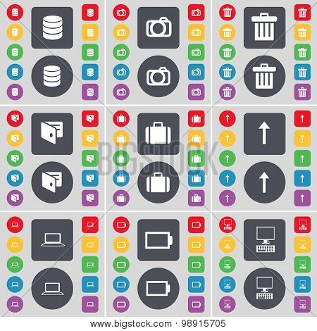 Database, Camera, Trash Can, Wallet, Suitcase, Arrow Up, Laptop, Battery, Pc Icon Symbol. A Large Se