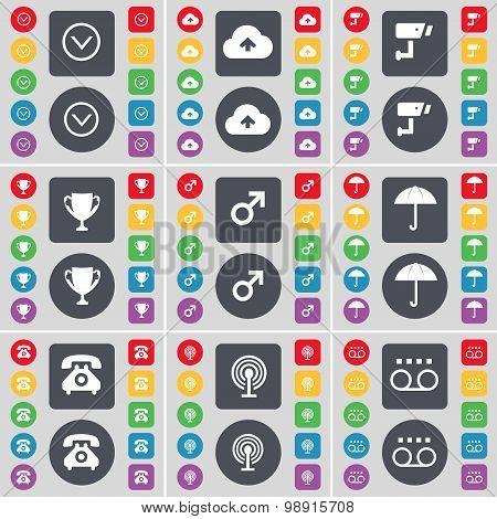 Arrow Down, Cloud, Cctv, Cup, Mars Symbol, Umbrella, Retro Phone, Wi-fi, Cassette Icon Symbol. A Lar